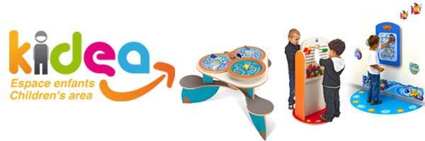 logo kidea avec des trois types de jeux kidea
